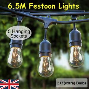 21.3 ft Vintage Waterproof Heavy Duty with 6 S14 11W bulbs Festoon String Lights