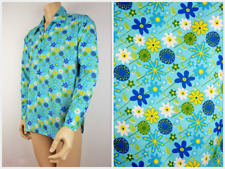 Mens Vtg 70s Style Disco Party Ditsy Floral Psychedelic Festival Shirt L to XL