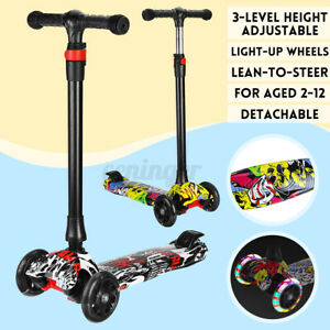 3 Pu Wheels Kids Scooter Adjustable Height Flashing LED Light Kick Push Outdoor