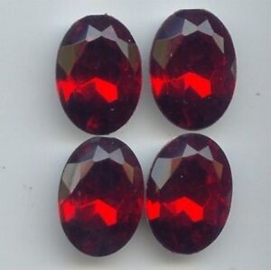 6 VINTAGE RUBY ACRYLIC 25x18mm. OVAL FACETED GEM JEWELS  6812