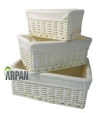 Hamper Storage Basket White Wicker Gift With White Lining- Small,Medium/ Large