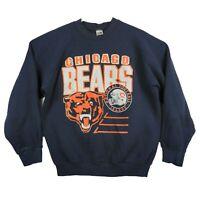 Vtg 90s FOTL NFL Football Chicago Bears Blue Graphic Pullover Sweater Men's XL