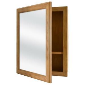 Bathroom Medicine Cabinet Framed Recessed Surface Mount Adjustable Shelf in Oak
