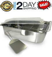 Stainless Steel Roaster With Cover 4 Piece Set Rack Spatula Deep Roasting Pan US
