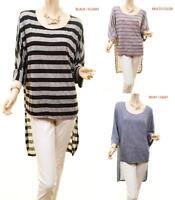 Plus Size Boho Hippie Stripes 3/4 Sleeve Breezy Knit Tunic Shirt Top 1X 2X 3X