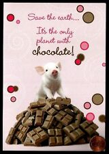 Cute Little Pig Piglet Mountain of Chocolate Bars Blank Note Greeting Card - NEW