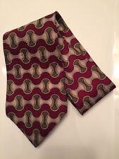 Bosa Le Collezioni Silk Neck Tie Red Burgundy Print Wide Necktie NWOT