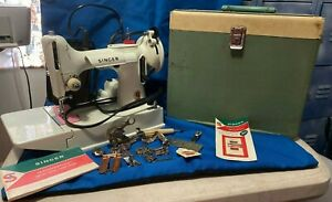 White Singer Featherweight Sewing Machine 221K /Case sn F199641 rare Pro cleaned