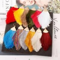 Bohemian Fringe Dangle Earrings Women Long Tassel Hook Boho Jewelry Chunky Drop