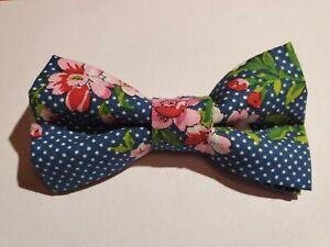 New! Boys Blue Floral Polka Dot Bow Tie! Kids Bow Tie