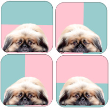 More details for pekingese coaster set dog lover gift idea small dog peke pekinese