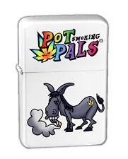 Pot Smoking Pals Donkey Vector KGM Thunderbird Vintage Lighter - White Matte