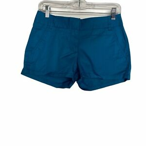 J Crew Blue Broken In Chino Shorts 100% Cotton Casual Womens Size 0
