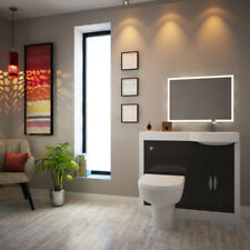 Apollo 1000mm Bathroom Vanity & BTW Unit White Grey Sink with Toilet and Tap RH
