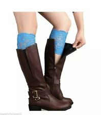 Blue Lace Boot Cuff Toppers New Socks