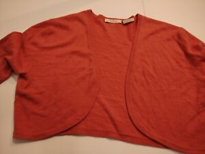 NEIMAN MARCUS Women's OPEN FRONT Cotton/CASHMERE XL 3/4 Sleeve SHORT Sweater