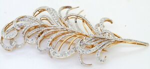 Heavy 18K 2-tone gold 6.0CTW diamond cluster large flower/feather brooch/pendant