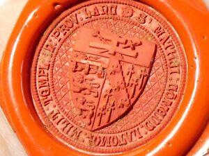 Antique Wax Seal Sample Lancashire Coat of Arms  KNIGHTS TEMPLAR  #ES5