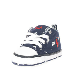 POLO RALPH LAUREN Baby Canvas Sneakers Size 19 UK 3.5 US 4 Patterned Lace Up