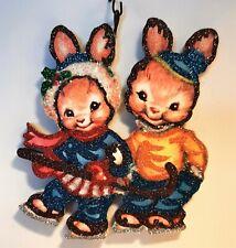 Dressed Bunny Rabbits, Ice Skating * Glitter Wood Christmas Ornament * Vtg