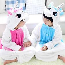 Niña Niño Unicornio Forma Mono Pijama Lana con Capucha Disfraz de Cosplay