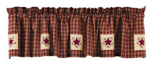 "Olivia's Heartland country primitive Cambridge Wine star VALANCE curtain 14""x72"""