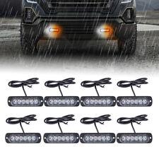 8Pcs Amber 6-LED Car Truck Emergency Beacon Warning Hazard Flash Strobe Light