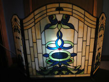 Fireplace Screen Tiffany Style Stained Glass 3 Section Victorian Hand-crafted