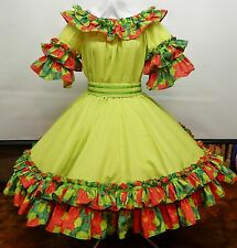 NEW !!!2 PC APPLE GREEN AND POINSETTIA  SQUARE DANCE DRESS