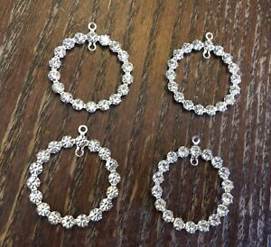 Vintage Silver Plate Clear Crystal Prong Set Open Circle Pi Add A Dangle Parts