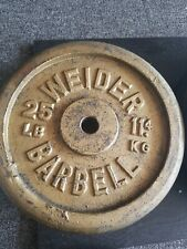 """vintage Weider  2- 25 lb. Plates Weights 1"""" STANDARD HOLE  BARBELL"""
