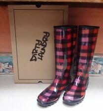 Dirty Laundry Women's Ring Leader Rain Boots Red & Black Plaid sz 9 - NIB, RV$60