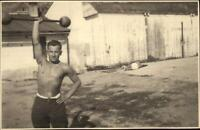 Beefcake Gay Interest Shirtless Man Lifting Weights c1920 Real Photo Postcard