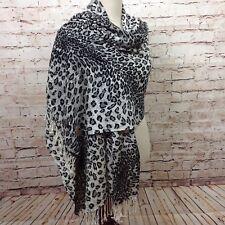 Women's Animal Print Pashmina Scarf Large Rectangle Shawl Fringe Leopard Cheetah