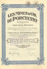 Colombia, Les Mines de ´Or de Porcecito SA, accion, 1928