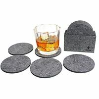 Summit One Premium Felt Absorbent Coasters, Set of 8 (4 Inch Round, 5mm Thick) -