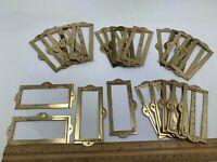 "Lot 24 brass finish Drawer Label Holders salvage patina aprox 3.25 x1.5"""