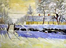 Stretched, Hand Painted Oil Painting, Monet the Magpie Repro, 36x48in