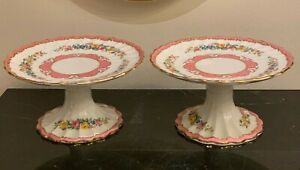 Crown Staffordshire Scalloped 2 Floral Pedestal Delicatessen Small Cake Stands