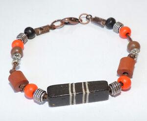 Orange black brown wood bead & tibetan silver beads bracelet copper tone clasp