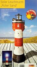 Leuchtturm Roter Sand Solar LED Rundumleuchte 360° Blickfang Gartendeko 80 cm