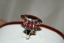 Natural earth-mined red garnet ring in sterling silver    5 carats of gems