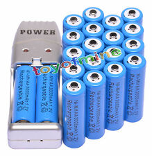 20 piles AA Bleu Couleur+Chargeur USB Ni-MH AA/AAA Rechargeable Batterie 3000mAh