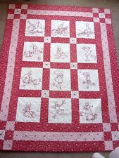 Finished Gorgeous Hand Embroidery REDWORK Quilt OUTDOOR FUN 100% Cotton
