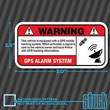 "GPS Anti Theft Vehicle Warning - 5.0""x2.5"" - vinyl decal sticker alarm sign"