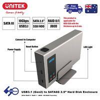 """USB3.1 Dual Bay SSD Enclosure Gen2 to SATA 2.5"""" RAID0/RAID1/NO-RAID/JBOD Y-3371"""