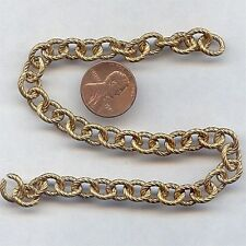 3 FEET VINTAGE SOLID BRASS DECO SWIRL ETCHED 10x8mm. OVAL CABLE CHAIN CH66