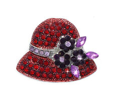 Red Hat Purple Flower Brooch Pin Necklace Pendant Jewelry Gift for Ladies