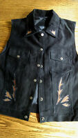 Agapo Womens Large Vest Suede Leather Button Snap Western Biker Lined Black NICE