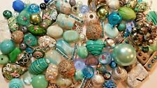 Big lot 100 pc Lilah Ann Beads, Glass, Resin, Charms, Teal, Blue, Green A-A469